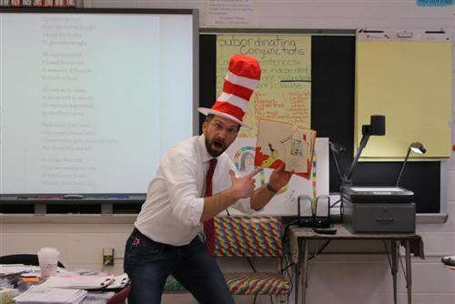 Mr. DiLeo celebrating Read Across America Day, March 2, 2015